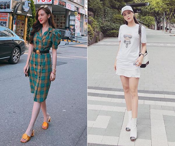 Những hot girl như Kelly Nguyễn, Sam cũng yêu thích cách phối đồ thanh lịch, nữ tính giống các cô gái Hàn Quốc.