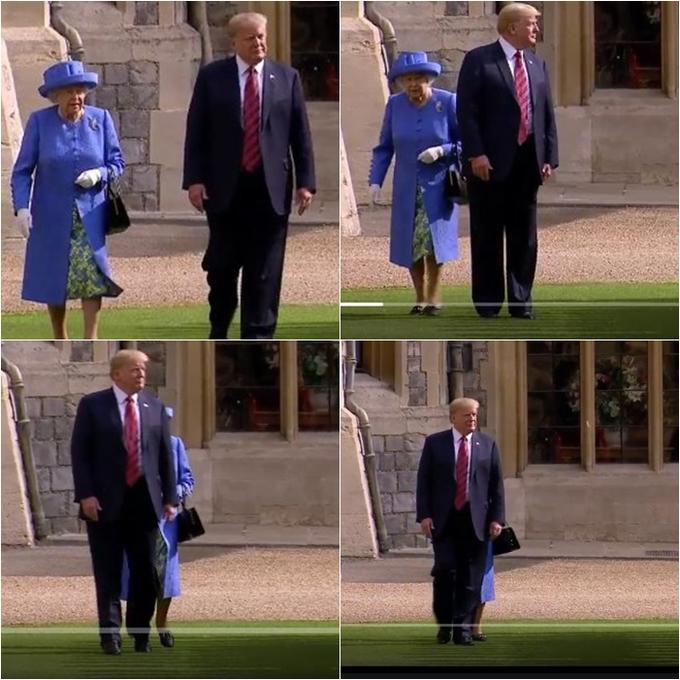 """<p> Trong video ghi lại, khi Nữ hoàng phát hiện ông Trump đi """"sai đường"""", bà cố gắng chỉ tay và yêu cầu ông di chuyển sang trái để bước song song. Tuy nhiên, Tổng thống Mỹ không nhận ra chỉ dẫn này và đột ngột dừng lại phía trước mặt Nữ hoàng</p>"""