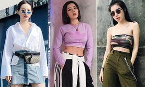 Croptop mix quần ống rộng - combo lên ngôi street style sao Việt tuần qua