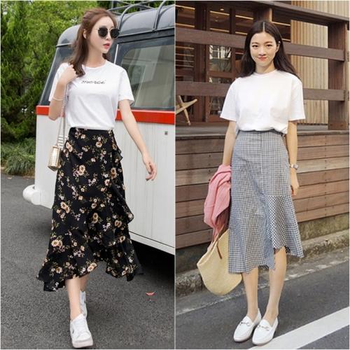 Đơn giản nhưng vẫn sành điệu cùng wrap skirt và giày trắng cơ bản.