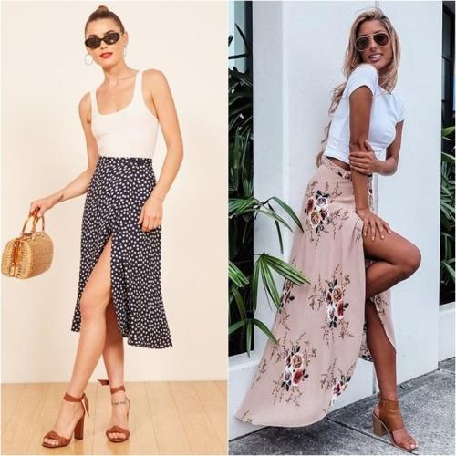Combo áo crop top + wrap skirt + sandals đế thô sẽ tạo nên một set đồ cuốn hút cho các nàng.
