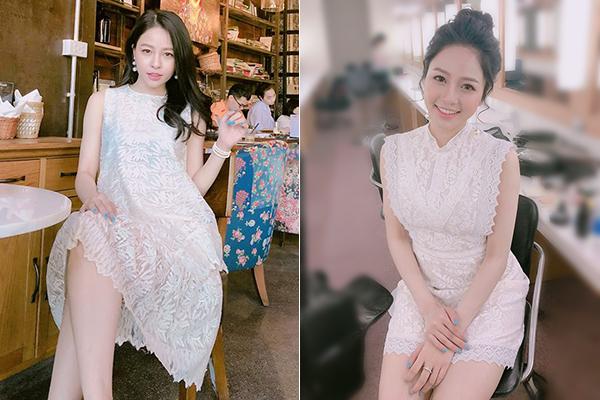 Váy ren trắng giúp Trâm Anh khoe được làn da trắng hồng, phù hợp với lối trang điểm nhẹ nhàng, xinh yêu mà hot girl yêu thích.