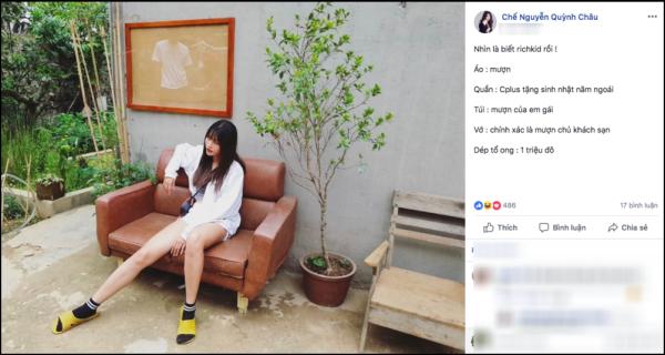 Người mẫu Chế Nguyễn Quỳnh Châu khoe có nguyên set đồ toàn hàng mượn và quà được tặng. Riêng đôi dép tổ ong vàng có giá trị đắt đỏ, lên đến& 1 triệu đô.