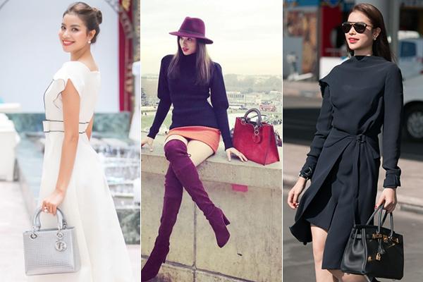 Nếu như trang phục thường được Phạm Hương mua từ các nhà thiết kế trong nước thì giày dép, túi xách của cô 100% là đến từ các nhà mốt danh tiếng, có những chiếc trị giá tới nửa tỷ đồng.