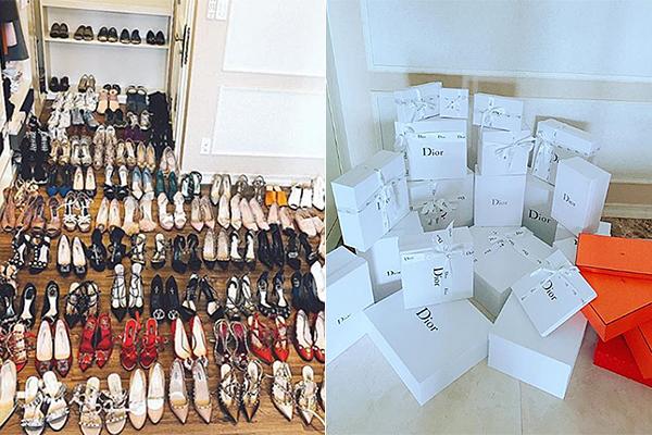 Hoa hậu nhiều lần gây choáng ngợp vì tủ giày hàng trăm đôi, góc phòng chất đầy những hộp đựng đồ hàng hiệu - chiến tích sau mỗi lần mua sắm.