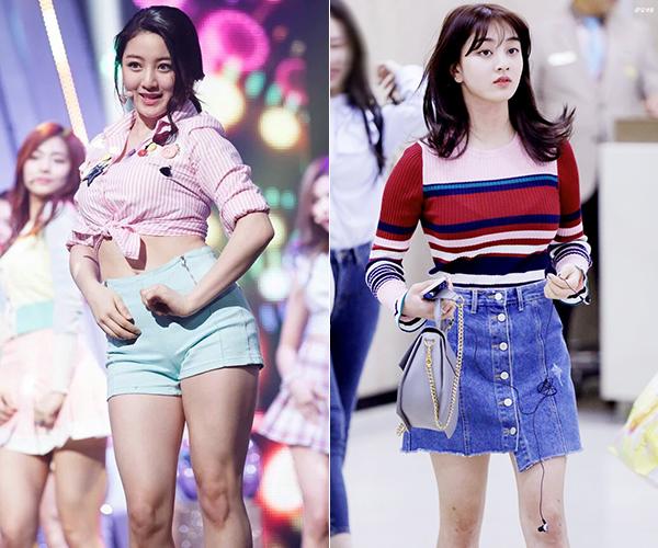 Ji Hyo nhiều năm khổ sở vì có thân hình quá khổ, kém gợi cảm so với các idol. Đây cũng là lý do cô nàng thường bị bỏ quên trong nhóm toàn mỹ nhân như Twice. Sau thời gian kiên trì tập luyện, năm nay Ji Hyo tái xuất với vóc dáng rất mảnh mai, khỏe khoắn. Đôi chân cơ bắp của cô nàng trước kia giờ trở nên rất gọn gàng, giúp Ji Hyo tự tin diện đủ kiểu váy ngắn. Nhan sắc nữ idol sau giảm cân cũng lên đời hơn trước.