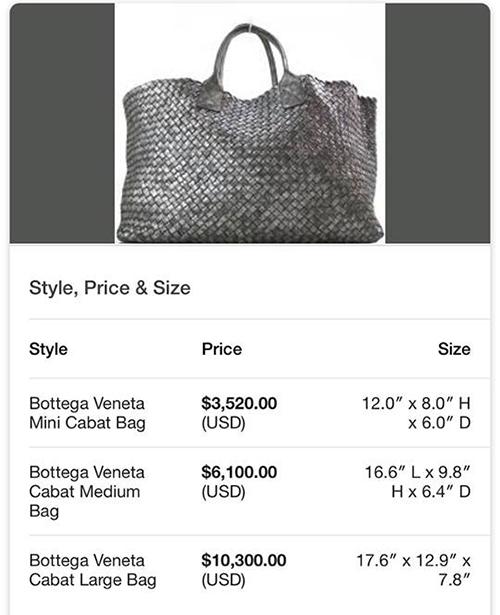 Chiếc túi của Hà Hồ có tên Cabat Bag, thuộc phiên bản giới hạn của thương hiệu trứ danh. Để sắm một chiếc size lớn về, người đẹp đã không ngần ngại chi khoảng 10.300 USD (tương đương 240 triệu đồng). Ngoài việc có số lượng hạn chế, chiếc túi còn được đan bằng bàn tay lành nghề của những người thợ thủ công, đây là lý do nó có giá rất đắt đỏ.
