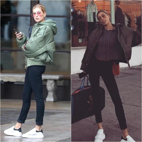 Kendall Jenner, Elle Fanning và đặc biệt là Hailey Baldwin đều mê mẩn thiết kế khỏe khoắn và dễ mix đồ của đôi sneaker màu trắng này.