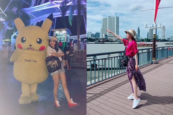 Dara đang vi vu ở Bangkok. Cô nàng thể hiện cách mix 2 kiểu trang phục khác nhau với cùng một chiếc mũ mùa hè.