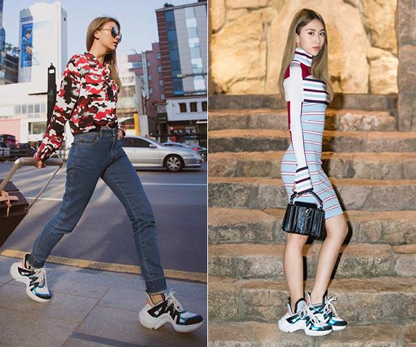 Hot girl Hà thành là một trong những sao Việt đầu tiên sở hữu mẫu giày độc đáo của Louis Vuitton. Cô nàng được chính thương hiệu này tặng khi sang Hàn Quốc tham dự một sự kiện của hãng. Quỳnh Anh Shyn chứng tỏ khả năng đa dạng khi diện Archlight từ lúc dạo phố đến khi đi tiệc.