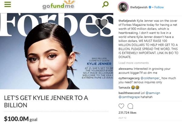 Chiến dịch Giúp Kylie có 1 tỷ USD này do Josh Ostrovsky - một người dùng mạng xã hội Instagram khởi xướng. Josh khẳng định: Tôi không muốn sống trong một thế giới mà Kylie Jenner không có 1 tỷ đôla.