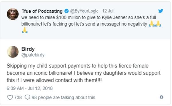 Trong khi hầu hết mọi người quyên góp khoảng 5 USD, một người đã trả tới 100 USD cho chiến dịch. Một người phụ nữ viết trên twitter: Tôi đã dùng tiền trợ cấp của các con để giúp cô gái tuyệt vời này trở thành một nữ tỷ phú huyền thoại! Tôi tin rằng con gái tôi cũng sẽ ủng hộ nếu tôi liên lạc được với chúng!!!