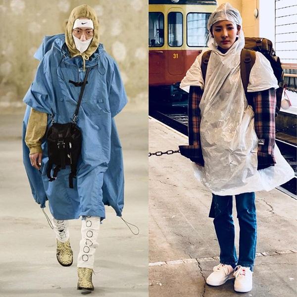 Dara (phải) mặc áo mưa, mặt tội nghiệp đứng trên sân ga ở Thụy Sĩ, bỗng thấy mình chẳng khác người mẫu trên sàn catwalk với phong cách đi đầu xu hướng.