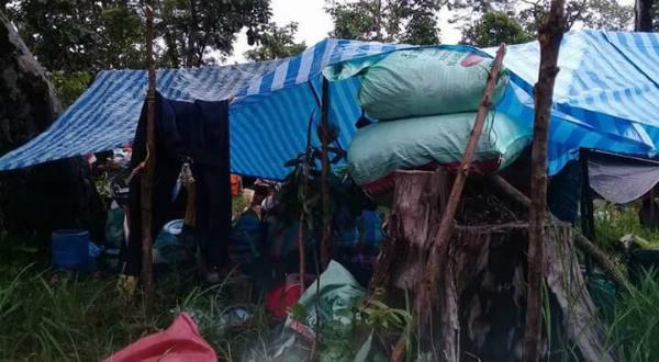 Tại những nơi đã khô ráo, người dân dựng lều ở tạm.