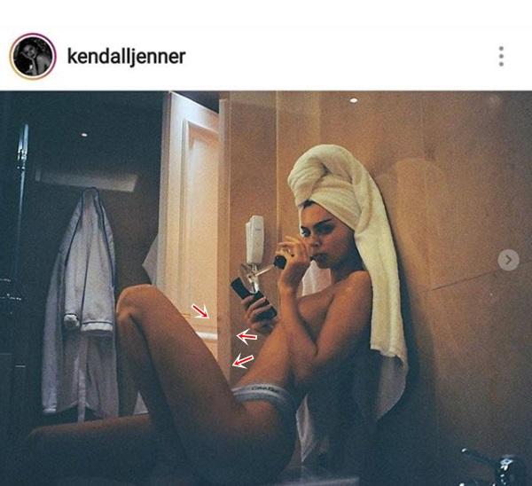 Bức tường méo mó đã tố cáo việc photoshop ảnh của Kendall Jenner.