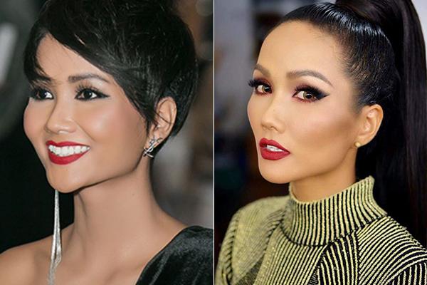 Có những lần HHen Niê cũng thử trang điểm môi đỏ, tuy nhiên hiệu ứng mang lại không được đánh giá cao. Đôi môi đậm khiến gương mặt của cô bị sắc, thiếu nét mềm mại và nữ tính, đồng thời tạo cảm giác dừ hơn tuổi thật.