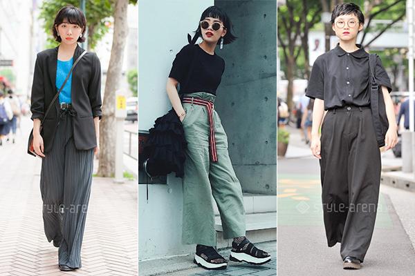 Quần ống suông được lòng con gái Nhật trong mùa hè và phối đa dạng cùng nhiều trang phục, tuy nhiên đều toát lên tinh thần thanh lịch, cổ điển. Một chi tiết khác là con gái Nhật rất thích đi giày da thay vì các kiểu sneakers như con gái Hàn.