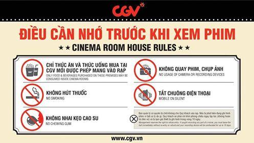 Một số quy định trong các rạp chiếu của CGV.