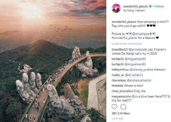 Trên tài khoản Instagram của Wonderful Places, bức ảnh Cầu Vàng nhận được gần 400.000 lượt like và hơn 7000 bình luận.