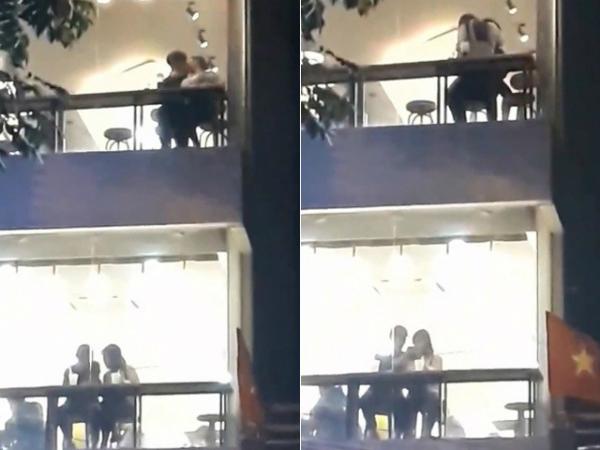 Một cặp đôi hôn nhau mãnh liệt tại quán trà sữa hồi đầu tháng 4/2018.