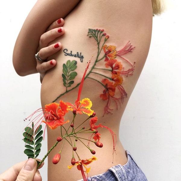 Tuyển tập hình xăm hoa cỏ tuyệt đẹp đầy tính nghệ thuật dành cho phái nữ - 8