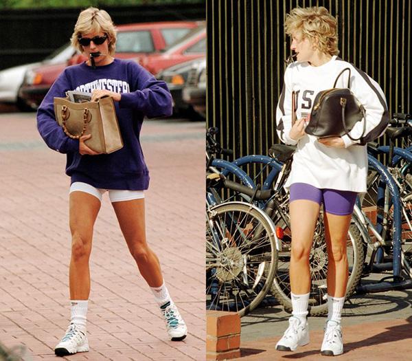 Những lần xuống phố, đi tập thể dục, công nương Diana luôn trông rất xì po với áo hoodie oversized, quần bó chẽn ôm trọn vào đùi và giày thể thao xuống phố. Phong cách này giúp bà khoe được đôi chân săn chắc, thân hình khỏe khoắn.