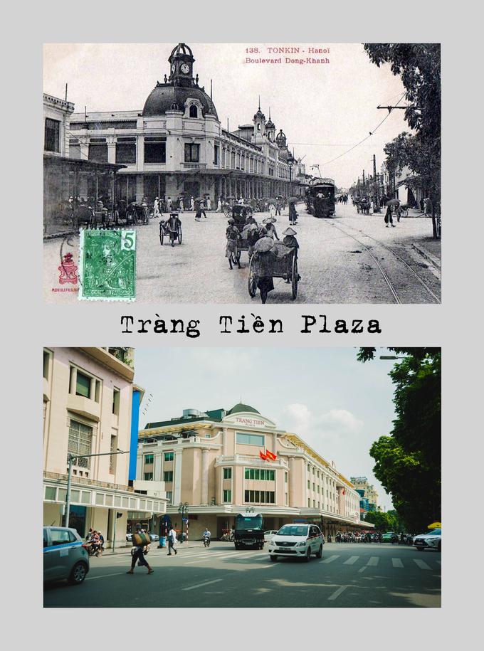 """<p> <strong>Tràng Tiền Plaza</strong>: Trước đây nơi này đặt hãng buôn tạp hóa lớn nhất Hà Nội là """"Liên hợp thương mại Đông Dương"""" (L'Union commereiale indochinoise). Dân chúng quen gọi là """"hiệu Gô-đa"""", sau thành Bách hóa Tổng hợp Hà Nội. Ngày nay, Tràng Tiền Plaza trở thành một trung tâm mua sắm lớn ở thủ đô.</p>"""