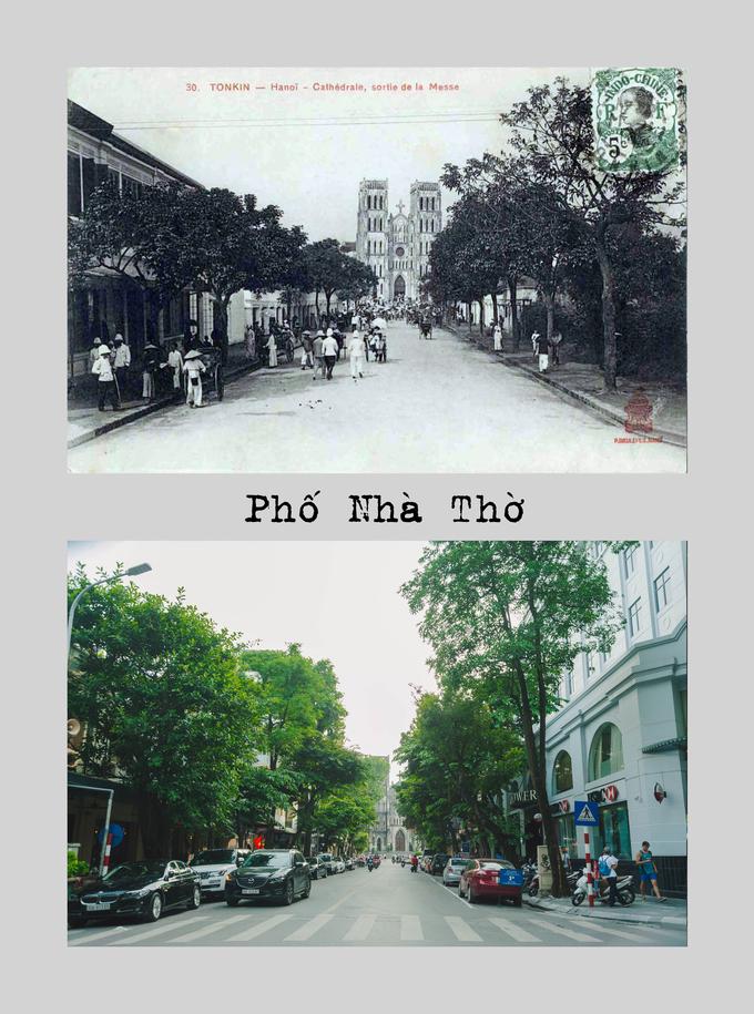 """<p> <strong>Phố Nhà Thờ</strong>: Thời Pháp thuộc năm 1892, phố được gọi là đại lộ Nhà Thờ (avenue de la Cathédrale). Năm 1945, phố đổi tên """"Phố Nhà Thờ"""". Phố bắt đầu từ phố Hàng Trống đến trước cửa Nhà thờ lớn Hà Nội.</p>"""
