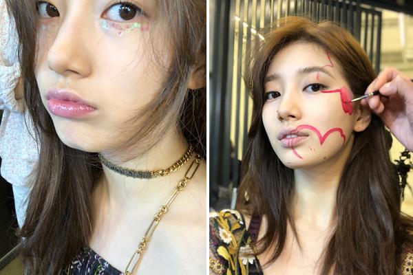 Suzy makeup độc lạ để chụp hình: đính kim tuyến lấp lánh lên bọng mắt và vẽ hình lên mặt.