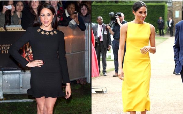 Khi còn là một diễn viên, Meghan rất ưa chuộng những chiếc váy ngắn đểcó thể khoe vóc dáng quyến rũ của mình. Tuy nhiên, hiện tại, những bộ váy gợi cảm đã được thay thế bởi những chiếc váy dài quá đầu gối kín đáo, lịch sự. Trong ảnh phải, Meghan diện bộ đầm bút chì màu vàng nổi bật củaBrandon Maxwell tại một sự kiện của Khối Thịnh vượng chung hồi tháng 7.
