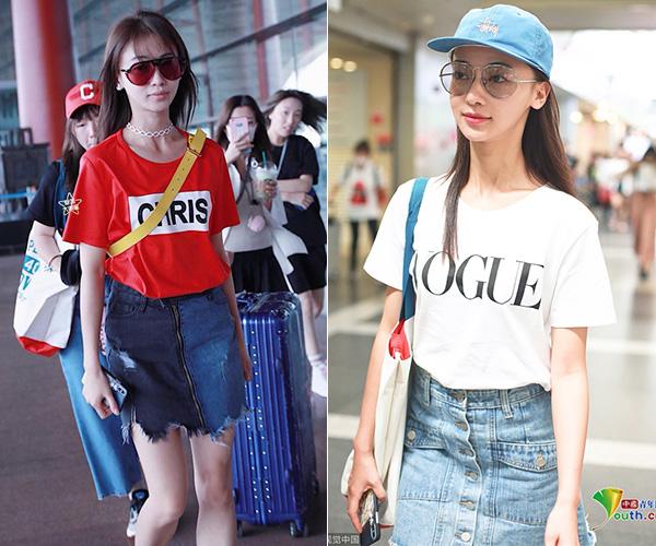 Khi ra sân bay, cô nàng thường chọn những bộ cánh đơn giản, thêm thắt bằng phụ kiện. Tuy nhiên, tổng thể mang đến vẫn có phần xuề xòa, kém sang, trông giống một cô sinh viên nhiều hơn.