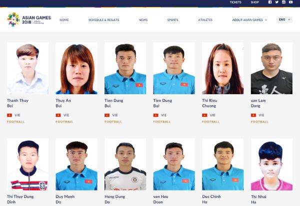 Hình ảnh các cầu thủ trên trang chính thức củaASIAD 2018.