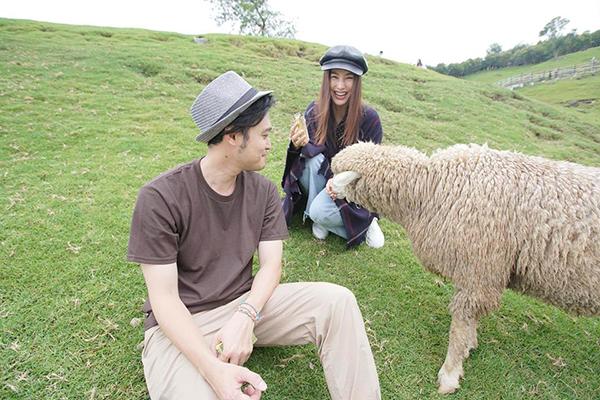 Diễm My 9x cười thả ga khi được trải nghiệm cảm giác đi chăn cừu cùng Quang Vinh ở Đài Loan.