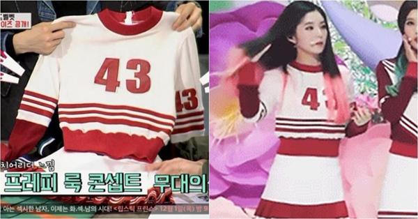 Đây là bộ váy ngắn thể thao kết hợp với áo dệt kim mỏng khi nhóm quảng bá album đầu tay  Happiness. Hai MC No Hong Chul và Hul Ji Woong không thể hiểu được vì sao váy áo của Irene lại nhỏ tới như vậy. Hul Ji Woong còn đùa rằng trang phục này giống dành cho trẻ con hơn là người lớn&.
