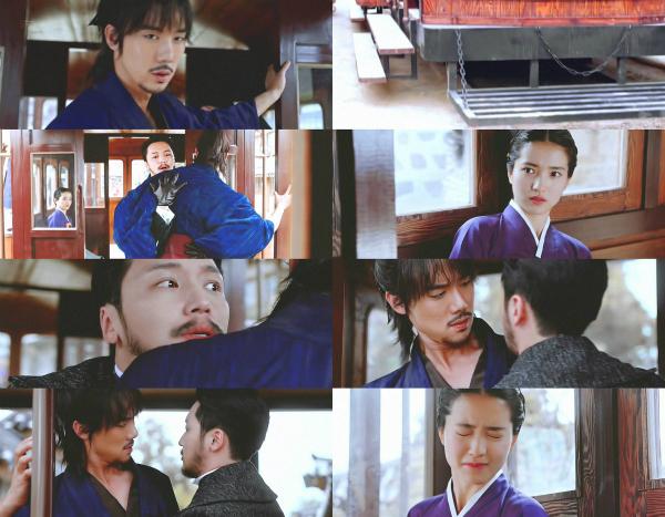 Phản ứng nhín cười của Ae Shin khi thấy Hee Sung ngã vào lòng Dong Mae.