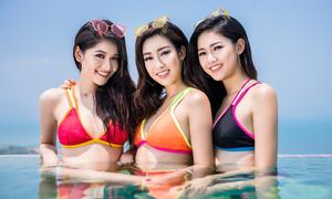 Mỹ Linh, Thanh Tú, Thùy Dung gợi cảm bên bể bơi dát vàng