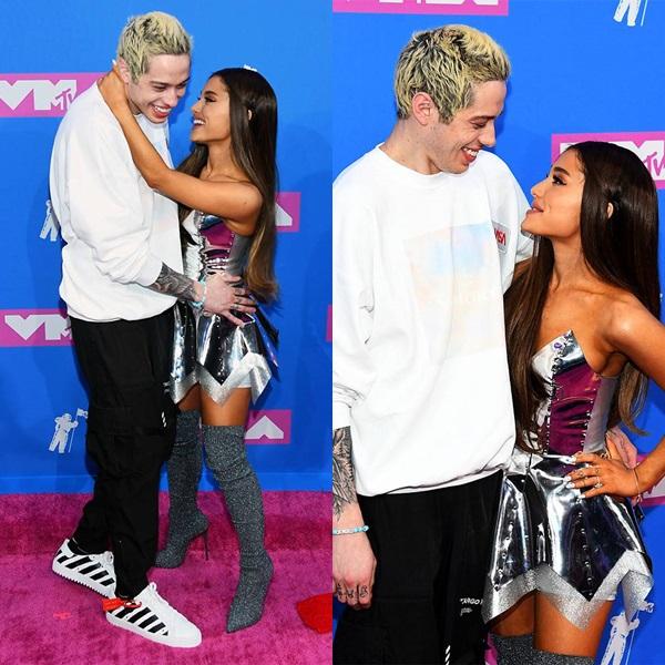 Ariana Grande luôn biết cách giật spotlight về mình. Cô sánh đôi cùng vị hôn phu Pete Davidson, không ngại dành cho bạn trai những cử chỉ âu yếm, thân mật trên thảm đỏ. Đây là lần đầu tiên cặp đôi công khai xuất hiện trong một sự kiện lớn.