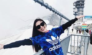 Hoa hậu Tường Linh ăn mặc điệu đà vi vu trời Âu