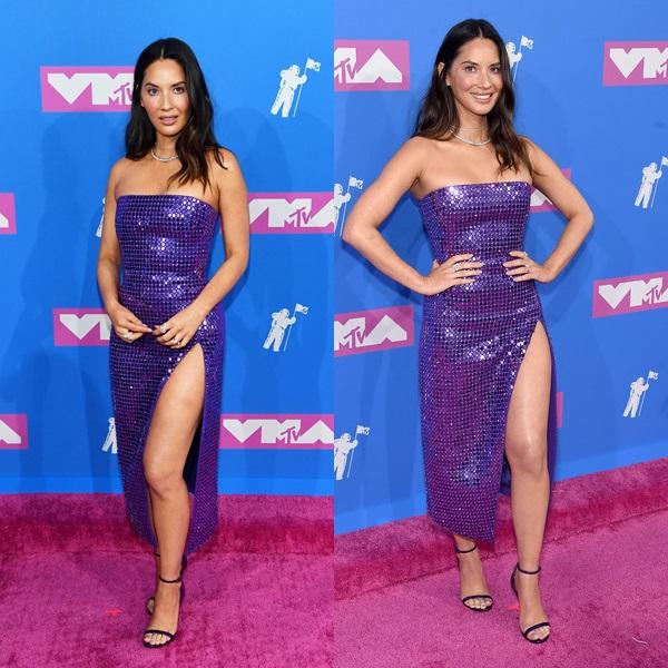 Olivia Munn diện style quyến rũ với bộ đầm sequin xẻ tà của NTK David Koma.