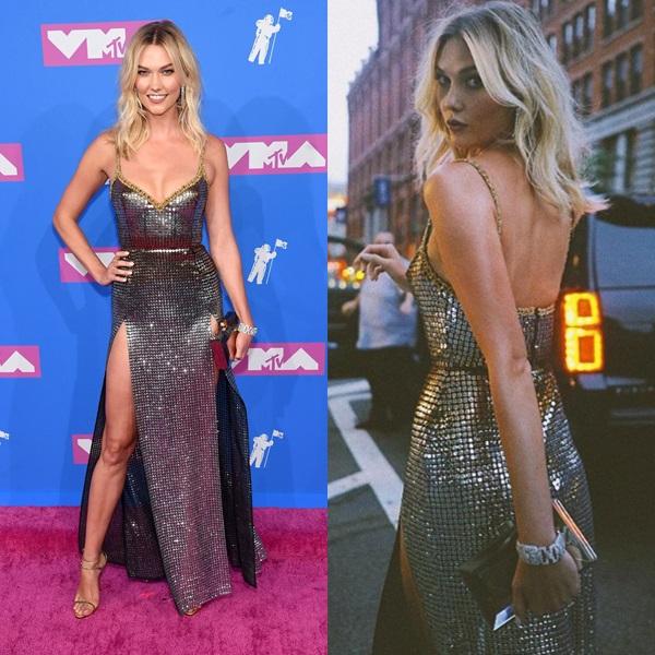 Chân dài Karlie Kloss diện bộ đầm của NTK Elie Saab. Cô được bình chọn là một trong những ngôi sao có style đẹp nhất thảm đỏ VMAs năm nay.