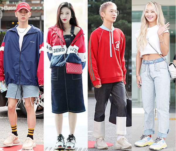 Giày của Gucci, Balenciaga... được các sao Hàn yêu thích hơn cả. Kiểu giày này còn có tên gọi là dad sneakers vì giống hệt phụ kiện của các bố ngày xưa.
