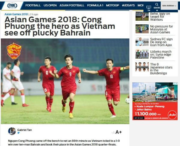 Tờ thể thao nổi tiếng châu Á Fox Sport Asia tường thuật về trận Olympic Việt Nam - Bahrain.