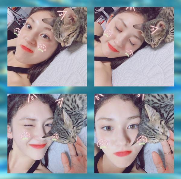 Jeon Somi nằm chơi với mèo cực cute. Cô nàng dường như đã lấy lại tinh thần sau khi rời JYP.