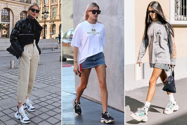 Bên cạnh những đôi giày thể thao nhỏ gọn, ôm chân, năm nay chứng kiến sự bành trướng của xu hướng ugly sneakers - kiểu giày thể thao với phom dáng cồng kềnh, thô kệch, bị mang tiếng là giày xấu nhưng vẫn chinh phục các fashionista.