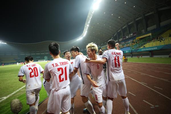 Đây có lẽ là giây phút khó quên nhất của Olympic Việt Nam trong trận đấu này.