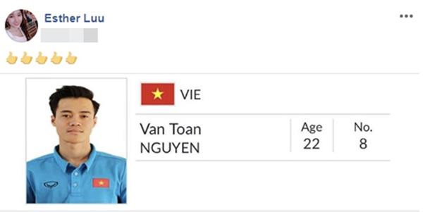 Hari Won chính thức là fan hâm mộ của Văn Toàn sau bàn thắng lịch sử đưa Việt Nam vào bán kết Asiad.