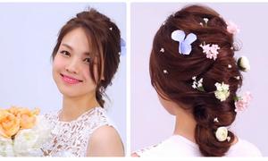 Hướng dẫn trang trí tóc cô dâu bằng hoa lá