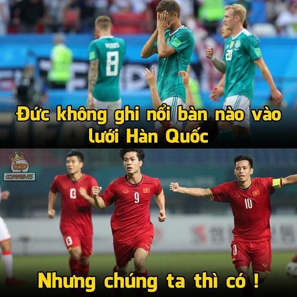 ĐT Đức từng thất bại trước Hàn Quốc tại World Cup 2018 với tỷ số 2 - 0 và không thể ghi nổi một bàn thắng vào lưới đội Hàn. Chúng ta dù thua nhưng vẫn gỡ được một bàn thắng danh dự.