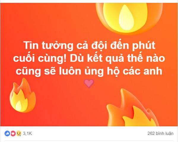 Một trong những lời động viên ấm lòng dành cho các cầu thủ tuyển Olympic Việt Nam và HLV Park Hang-seo.