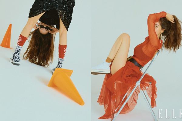 Hyun Ah chụp hình tạp chí với kiểu pose khoe đùi, khoe chân kỳ quặc.